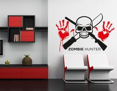 Wall Art sticker transfer bedroom,teenage,rock,metal,alternative ZOMBIE HUNTER