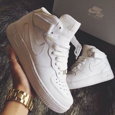 """163d7d0ed47e LIA on Instagram  """"Kicked my exam s ass this morning in my err force one s!   AF1  curiouserlia"""". White Nike High TopsNike Air Max WhiteAdidas ..."""
