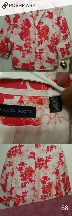 Karen Scott ladies Jacket Pretty 3/4 length sleeve, like dark burnt red orange color, polyester, lined, excellent condition Karen Scott Jackets & Coats Blazers