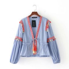 2017 Embroidery Striped Kimono Cardigan Women Jacket Ribbon Shawl Colored tassels Deep V-Neck Casual Long Sleeve Thin Basic Coat #Affiliate