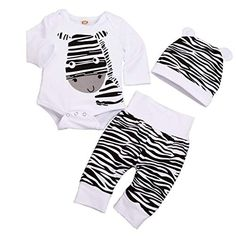 21dca2f07 Infant Baby Boy Girl Clothes Zebra Romper Top + Striped Pants +Hat 3PCS Outfit  Set