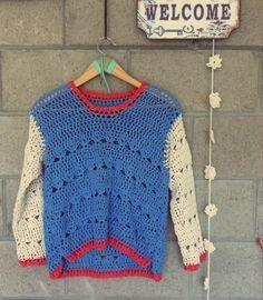 @mariadelapazd #tejidos #summercrochet #bohostyle #bohemianbeach #handmade #lovely  SWEATER AURORA COLOR CROCHET Crochet Yarn, Crochet Hooks, Knit Crochet, Bikinis Crochet, Summer Sweaters, Modern Crochet, Crochet Jacket, Crochet Fashion, Crochet Clothes