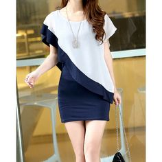 $21.37 Women's Irregular Sleeve Splicing Color Chiffon False Round Collar Two-piece Dress