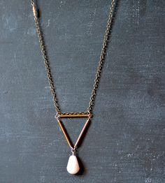 Brass Triangle Necklace with Pink Teardrop | Jewelry Necklaces | Wit & Pepper | Scoutmob Shoppe | Product Detail