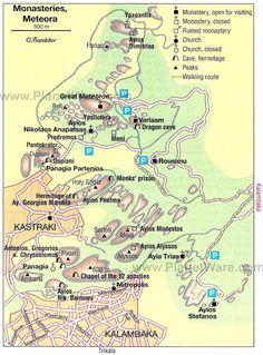 Monasteries, Meteora - Map
