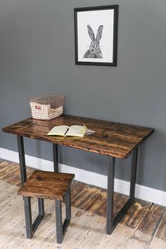 Box Leg Table or Office Desk. Rustic Industrial Furniture, Reclaimed Wood Furniture, Hairpin Legs, Urban Design, Office Desk, Dining Bench, Entryway Tables, Mid Century, Box
