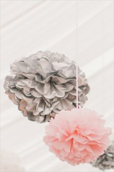pink and silver paper balls #paperflowers #weddingchicks http://www.weddingchicks.com/2013/12/30/elegant-international-wedding/