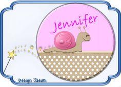 Button  rosa Schnecke mit Namen von Jasuki auf DaWanda.com
