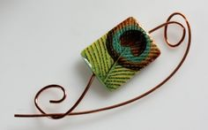 Copper Wire Shawl Pin with Peacock Feather Bead by ShawlPinHeaven, $18.00