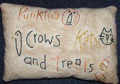 Primitive Halloween Fall Stitchery Pillow. $7.00, via Etsy.