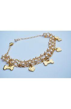 Fifi & Romeo Pearl and Gold Charm Dog Necklace.  www.GildedYorkie.com