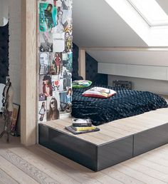 modern bedroom on the attic- have a separation where the mid wall is Witch Room, House 2, Outdoor Furniture, Outdoor Decor, Modern Bedroom, Kids And Parenting, Future House, Mattress, Toddler Bed