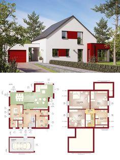 Einfamilienhaus mit Garage und Satteldach - Haus Grundriss Evolution 154 V6 Bien Zenker Fertighaus Ideen - HausbauDirekt.de