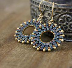 Blue and Gold Mozaic Beaded Hoop Dangle by lamaisondefloria