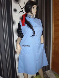 Nylon Kittel Schürze XXL Friseur Vintage Glanz Blouse Sissy Boy Apron Overall | eBay