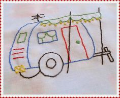 Queen B - Creative Me: Embroidered Caravan Pillow and ... Our First Camping Trip of 2013