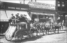 Cripple Creek, Colorado prior to the arrival of the first rail line in the summer of 1894. The Cripple Creek District was served by several stagecoach and wagon freighting companies.