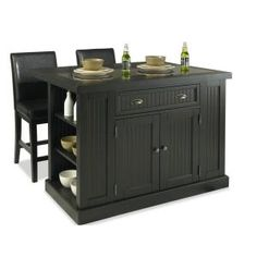 Home Styles, Nantucket Kitchen Island in Distressed Black with Black Granite Inlay and Two Stools, 5033-949 at The Home Depot - Mobile