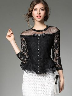 FlyingTown 2017 autumn fashion women shirt blouse with long sleeve high quality black lace Beading transparent Hollow basic top Blouse Styles, Blouse Designs, Thai Wedding Dress, Lace Tops, Classy Outfits, Dress Patterns, Blouses For Women, Designer Dresses, Fashion Dresses