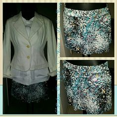 Teal/Black/Gray Shorts Final price. Reduced from $25.00. Teal / Black / Gray Shorts,  elastic waist,  white lining, sheer silky fabric,  size small,  fits up to medium. *Jacket sold separately. *Belt not for sale. Forever 21 Shorts