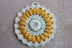 Two Crocheted Yellow Pot Holders by CoffeeKlatch on Etsy, $6.00