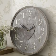 a clock for Tina Tick Tock Clock, Wall Watch, Cool Clocks, Time Stood Still, Time Clock, Heart Wall, Grey And White, Gray, Beige