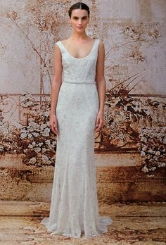 Sleeveless beaded lace sheath wedding dress with a scoop neckline and crystal embellished belt, Monique Lhuillier