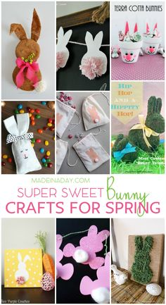Easter Bunny Crafts for Spring Decor, Bunny wreaths, garlands, bunting, moss covered bunnies, Bunny canvas art, treat bags and more!  via @madeinaday