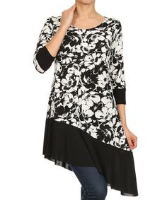 Black & White Floral Asymmetric-Hem Tunic - Plus Too #zulily #zulilyfinds