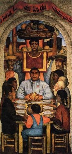 Our Bread, 1928 by Diego Rivera. Muralism. allegorical painting. Courtyard ofThe Fiestas, Ministry of Education, Mexico City, Mexico