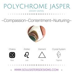 Metaphysical Healing Properties of Polychrome Jasper, including associated Chakra, Zodiac and Element, along with Crystal System/Lattice to assist you in setting up a Crystal Grid. Go to https://www.soulsistersdesigns.com/polychrome-jasper to learn more!