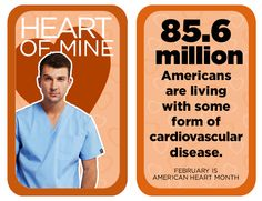 million Americans are living with some form of cardiovascular disease. Heart Disease Facts, Heart Facts, Dental Scrubs, Same Day Delivery Service, Heart Month, Lab Coats, Nursing Dress, Cardiovascular Disease, American