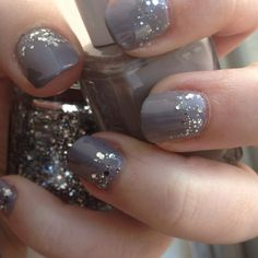 gray nails + glitter base