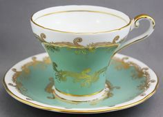 """AYNSLEY """"Green and Gold"""" Teacup & Saucer"""