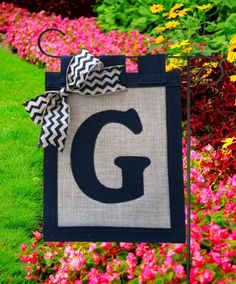 Personalized Burlap Chevron Garden Flag Made to by cornfieldfinds, $25.00