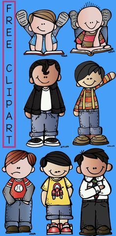 Use this clipart to decorate your work, your worksheets,etc. This set includes 7 boys in png format. Classroom Clipart, School Clipart, Classroom Signs, Classroom Ideas, Cute Unicorn, Kindergarten, Girls Clips, Photoshop, Illustrations