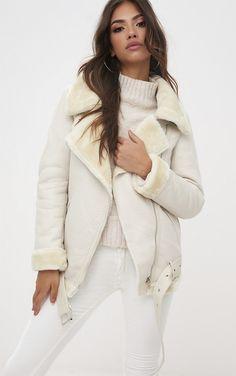 Cream Pu Aviator Jacket | Coats & Jackets | PrettyLittleThing