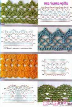 Giáo trình móc cơ bản ( Không spam topic này ) - Page 2 Check out the diagrams and learn to make more than 150 points, (crochet edgings) with images. There are several crochet borders that can be applied in various crochet projects. Crochet Border Patterns, Crochet Lace Edging, Crochet Motifs, Crochet Diagram, Crochet Chart, Crochet Designs, Crochet Blanket Edging, Beau Crochet, Crochet Diy