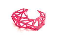 Triangulated Cuff bracelet in Pink. 3d printed. modern statement jewelry. geometric spring jewelry