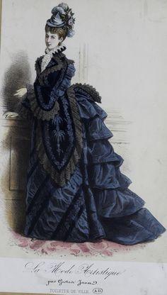 1870s Fashion, Edwardian Fashion, Vintage Fashion, Vintage Gowns, Vintage Outfits, Edwardian Costumes, Fashion Illustration Vintage, 19th Century Fashion, Fashion Painting