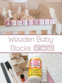DIY your photo charms, compatible with Pandora bracelets. Make your gifts special. Wooden Baby Blocks DIY - Baby Name Blocks - Mod Podge Diy Nursery Decor, Baby Nursery Diy, Baby Decor, Girl Nursery, Nursery Ideas, Nursery Crafts, Kid Decor, Bedroom Ideas, Wooden Baby Blocks