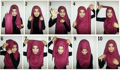 I have collected hijab styles step by step tutorial. It consists of steps required to wear beautiful hijab styles. These steps for hijab styles are easy. Islamic Fashion, Muslim Fashion, Hijab Fashion, Modest Fashion, Fashion Outfits, Sneakers Fashion, Korean Fashion, How To Wear Hijab, Hijab Wear