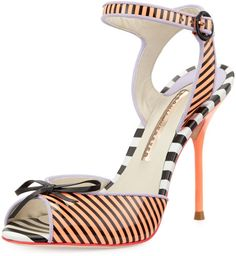 Sophia Webster Black Lula Striped Peeptoe Sandal