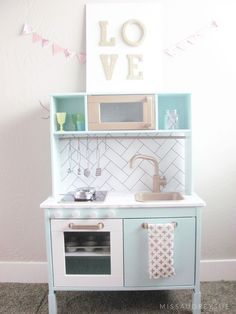 Ikea Play Kitchen Makeover | Miss Audrey Sue Love the backsplash