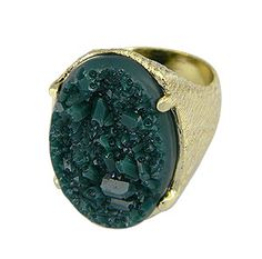 #Anel #folheado a ouro, com acabamento superficial lixado, contendo Pedra Drusa sintética em formato oval.  - Código: AN0382 - Preço 47,90 - Garantia de 1 ano pós compra. Compre em: www.imagemfolheados.com.br/?a=76729