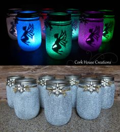 Color changing fairy mason jars. Fairy Lanterns. Now for SALE on Etsy! https://www.etsy.com/listing/462820749/