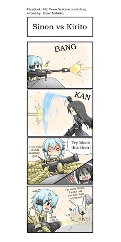 SAO 4koma : Kirito vs Sinon by *GreenTeaNeko on deviantART