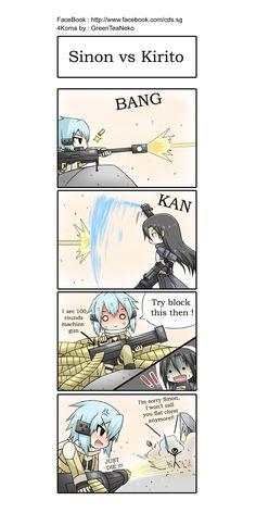 SAO 4koma : Kirito vs Sinon by *GreenTeaNeko on deviantART