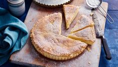 Italian-style tart with a lemon and cinnamon custard topped with lemony pastry.