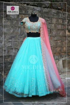 Mugdha Art Studio soft powder blue and blush pink lehenga combined with golden embroidery and zari work. Now Available on Mugdha Art Studio FOR ORDER what s app on:- Half Saree Lehenga, Lehnga Dress, Indian Lehenga, Bridal Lehenga, Anarkali, Lehenga Gown, Pink Lehenga, Banarasi Lehenga, Lehenga Blouse